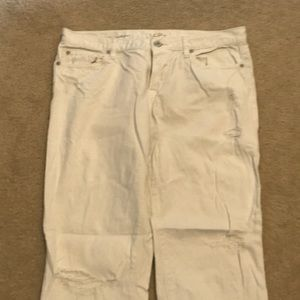 LOFT  White Distressed Boyfriend Jeans size 10
